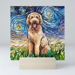 Goldendoodle Night Mini Art Print