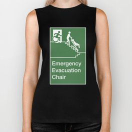 Accessible Means of Egress Icon, Emergency Evacuation Chair Sign Biker Tank