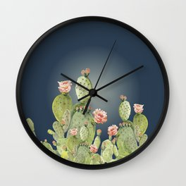 In The Moonlight - Cactus Wall Clock