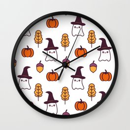 cute cartoon halloween pattern background with ghosts, pumpkins, leaves and acorns Wall Clock