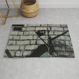 Graffiti Street Art from Original Painting by Jodi Tomer. Abstract Black and White Bricks Rug