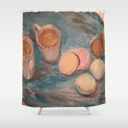 Cafe Au lait and French Macrons Shower Curtain