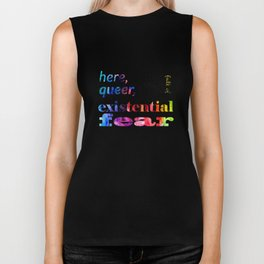 Here, Queer, and Full of Existential Fear (Rainbow Inverted) Biker Tank