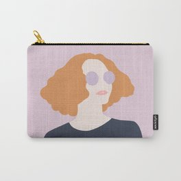 Orange Hair Girl // Minimalist Indie Rock Music Festival Lavender Sunglasses by Mighty Face Designs Carry-All Pouch