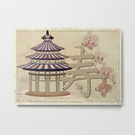 Pagoda Rose Oriental Mixed Media Metal Print