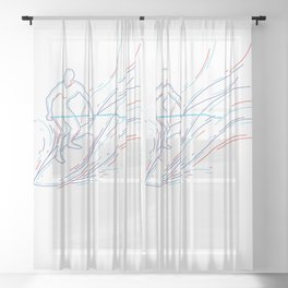 Ocean Waves Stand Up Paddle Board Sheer Curtain