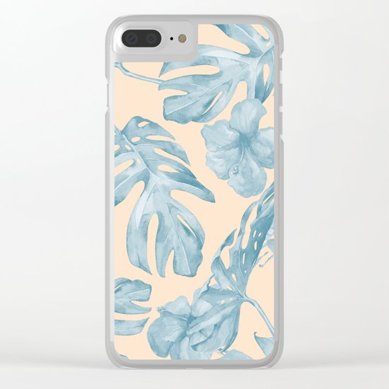 Tropical Leaves Sky Blue on Mango Coral Clear iPhone Case