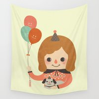 ballon Wall Tapestries featuring Hold The Happy Ballon by Minifanfan
