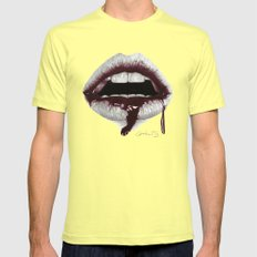 Avidità / Greed - Blood Lips - Mouth MEDIUM Lemon Mens Fitted Tee