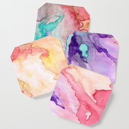 Color My World Watercolor Abstract Painting Coaster