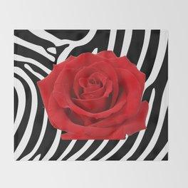 Red rose on zebra Throw Blanket