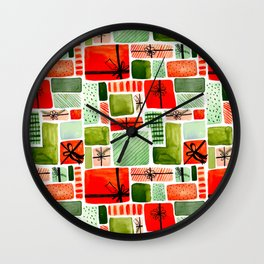 That's A Wrap! Holiday Wrapping Paper Pattern Wall Clock