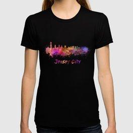 Jersey City skyline in watercolor T-shirt