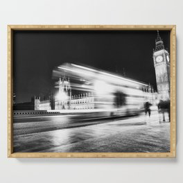 Bus passing Westminster B&W Serving Tray