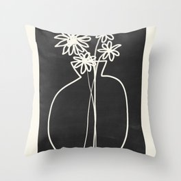 Abstract line art vase  Throw Pillow