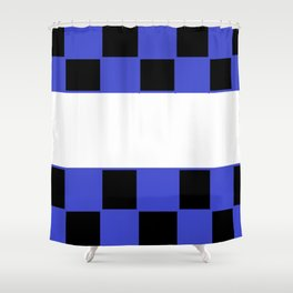Black and blue chess board Shower Curtain