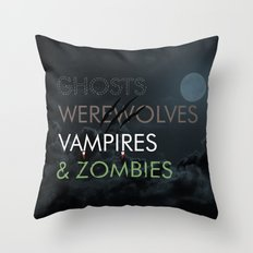 Ghosts, Werewolves, Vampires & Zombies Throw Pillow