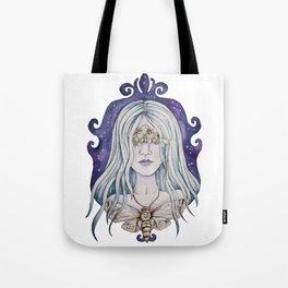 Gothic watercolor universe moth woman Tote Bag