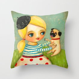 FRENCH GIRL with Fawn Pug in Paris Throw Pillow