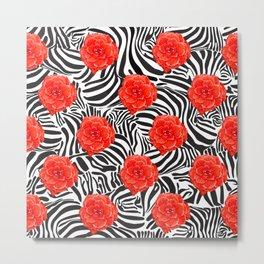 Zebra and Begonia Metal Print