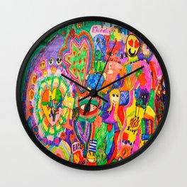 Pop Art World by Elisavet Wall Clock
