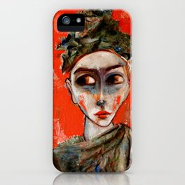 Llorona sobre fondo rojo iPhone Case
