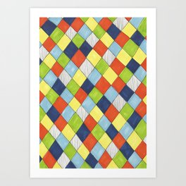 Doodle style bright hand drawn harlequin pattern. Art Print