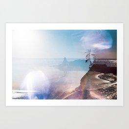 Alone on the Oregon Coast - 35mm Double Exposure Art Print