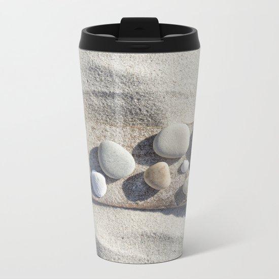Beach pebble driftwood still life Metal Travel Mug