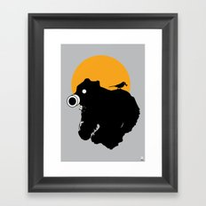 The Bear and Bird in a gas mask Framed Art Print
