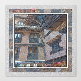 BHAKTAPUR NEPAL BRICKS WINDOWS WIRES Canvas Print