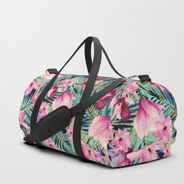 Tropical pink lavender aqua gold watercolor floral Duffle Bag