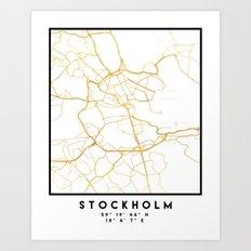 STOCKHOLM SWEDEN CITY STREET MAP ART Art Print