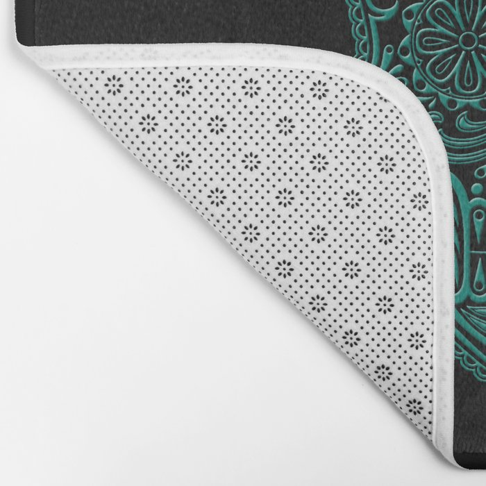 Intricate Teal Blue and Black Day of the Dead Sugar Skull Bath Mat