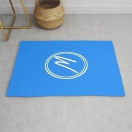 Monogram - Letter W on Dodger Blue Background Rug