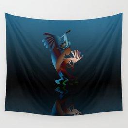 Kokopelli Flute Blue Wall Tapestry
