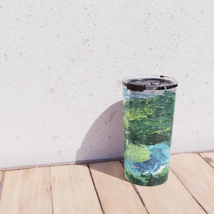 Gunnison: a vibrant acrylic mountain landscape in greens, blues, and a splash of pink Travel Mug