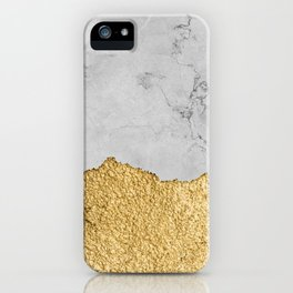 Gold torn & Grey marble iPhone Case