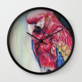 Scarlet's Post Macaw Wall Clock