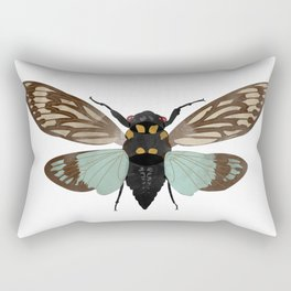 Cicada Blue and Brown Insect Digital Watercolor Rectangular Pillow