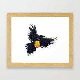 Crow Grabbing Sphere Framed Art Print