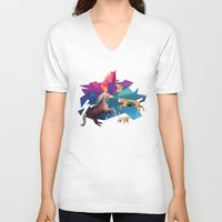 low poly V-neck T-shirts featuring low poly animals by sofiefatale