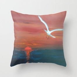 Seagull flying with Peace and Love Throw Pillow