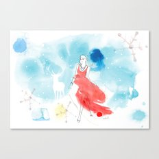 Christmas girl in the snow Canvas Print