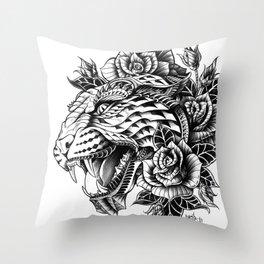 Ornate Leopard Black & White Variant Throw Pillow