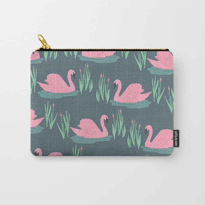 Pink Swans Carry-All Pouch
