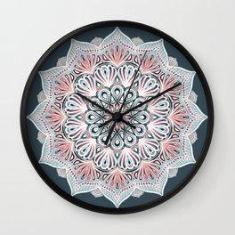 Expansion - boho mandala in soft salmon pink & blue Wall Clock
