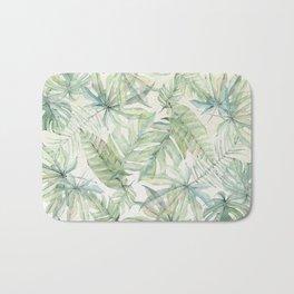 Green Tropical Leaves Bath Mat