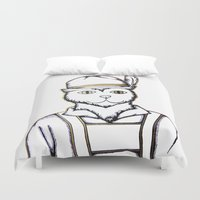 german Duvet Covers featuring German Kitty by Sofy Rahman