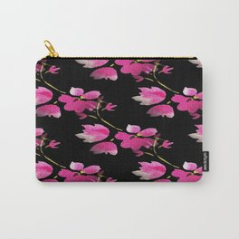Stylised Pink Floral Carry-All Pouch